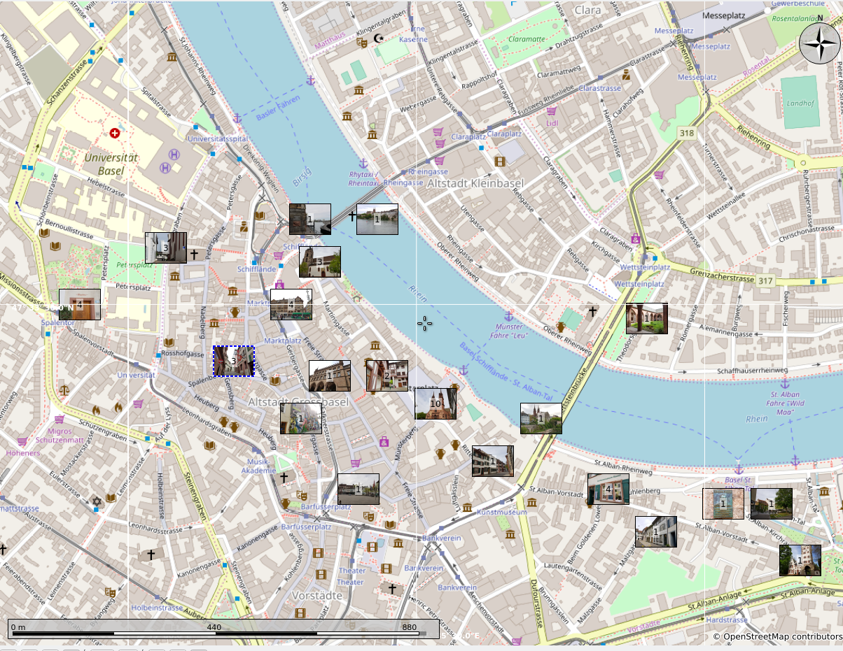 Map showing location of above photos